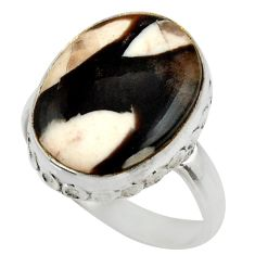 925 silver natural peanut petrified wood fossil solitaire ring size 8 r28698