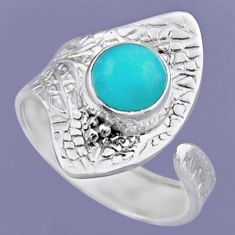 925 silver 3.19cts natural peruvian amazonite adjustable ring size 8.5 r54727