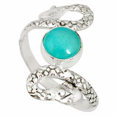 925 silver 3.02cts natural peruvian amazonite round snake ring size 10 r78703