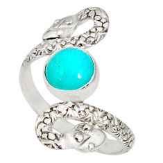 925 silver 3.18cts natural peruvian amazonite round snake ring size 11 r78724