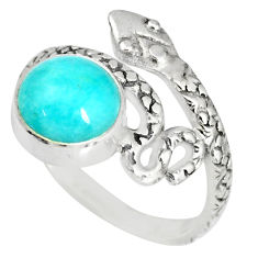 925 silver 3.32cts natural peruvian amazonite round snake ring size 7 r82568