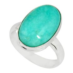 925 silver 8.83cts natural peruvian amazonite solitaire ring size 7.5 r19305