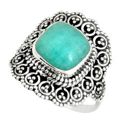 925 silver 5.68cts natural peruvian amazonite solitaire ring size 8.5 r19539