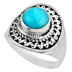925 silver 2.71cts natural peruvian amazonite solitaire ring size 6.5 r53490
