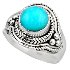 925 silver 2.57cts natural peruvian amazonite solitaire ring size 6.5 r53499