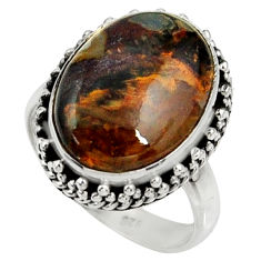 925 silver 10.02cts natural pietersite (african) solitaire ring size 7.5 r28195