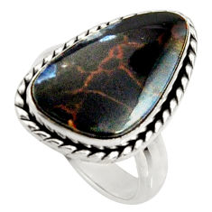 925 silver 10.17cts natural pietersite (african) solitaire ring size 6 r25013