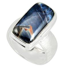 925 silver 9.71cts natural pietersite (african) solitaire ring size 8 r19010