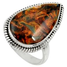 925 silver 15.39cts natural pietersite (african) solitaire ring size 8 r28191