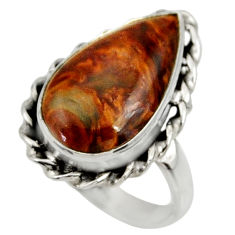 925 silver 9.86cts natural pietersite (african) solitaire ring size 8 r28210