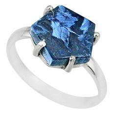 925 silver 4.50cts natural pietersite (african) solitaire ring size 8 r82036