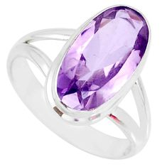 925 silver 7.54cts natural pink amethyst oval shape solitaire ring size 9 r84975