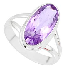 925 silver 7.61cts natural pink amethyst solitaire ring jewelry size 8 r84978
