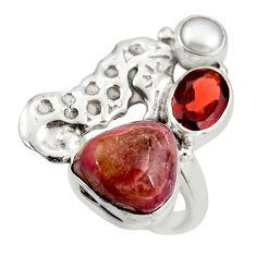 925 silver 7.72cts natural pink bio tourmaline pearl seahorse ring size 7 d46016