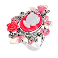 925 silver natural pink cameo on shell lady face flower ring size 7.5 c21411