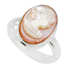 925 silver 4.84cts natural pink cameo on shell lady face ring size 7 r80470
