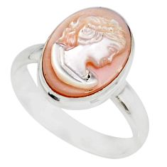 925 silver 5.08cts natural pink cameo on shell lady face ring size 8 r80474