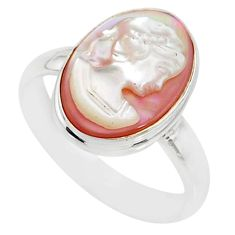 925 silver 4.60cts natural pink cameo on shell oval lady face ring size 6 r80491