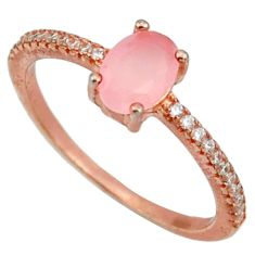 925 silver 2.27cts natural pink chalcedony 14k rose gold ring size 7 c10297