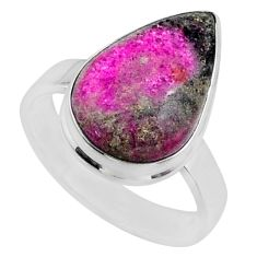 925 silver 11.25cts natural pink cobalt calcite pear shape ring size 8.5 r66051