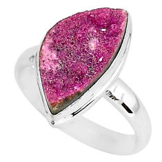 925 silver 8.31cts natural pink cobalt druzy fancy solitaire ring size 9 r92888