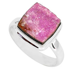 925 silver 5.87cts natural pink cobalt druzy solitaire ring size 9.5 r92884