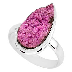 925 silver 9.04cts natural pink cobalt druzy solitaire ring size 8.5 r92896