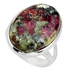 925 silver 17.36cts natural pink eudialyte oval solitaire ring size 6.5 r26474