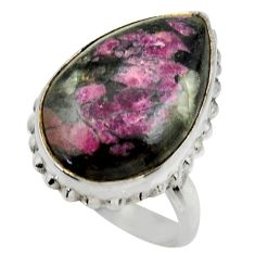 925 silver 14.50cts natural pink eudialyte pear solitaire ring size 6.5 r28669