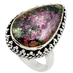 925 silver 14.12cts natural pink eudialyte solitaire ring jewelry size 7 r28799