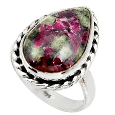 925 silver 10.23cts natural pink eudialyte solitaire ring jewelry size 8 r28084