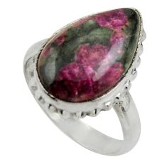 925 silver 9.40cts natural pink eudialyte solitaire ring jewelry size 8 r28664