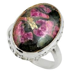 925 silver 14.52cts natural pink eudialyte solitaire ring jewelry size 8 r28679