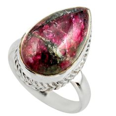 925 silver 8.41cts natural pink eudialyte solitaire ring jewelry size 8 r28784