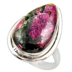 925 silver 14.72cts natural pink eudialyte solitaire ring jewelry size 8 r28789