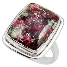 925 silver 14.47cts natural pink eudialyte solitaire ring jewelry size 8 r28793