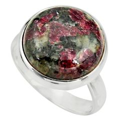 925 silver 13.77cts natural pink eudialyte solitaire ring size 8.5 r26477