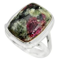 925 silver 10.70cts natural pink eudialyte solitaire ring size 7.5 r26480