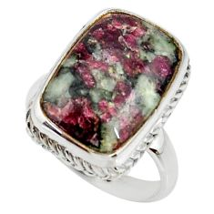 925 silver 13.34cts natural pink eudialyte solitaire ring size 8.5 r28089