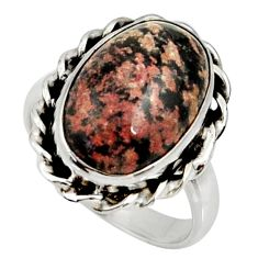 925 silver 8.21cts natural pink firework obsidian solitaire ring size 7.5 r28159