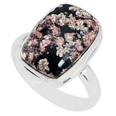 925 silver 7.97cts natural pink firework obsidian solitaire ring size 7.5 r95588