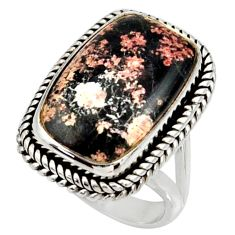 925 silver 12.34cts natural pink firework obsidian solitaire ring size 7 r28158