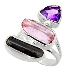 925 silver 14.26cts natural pink kunzite rough amethyst ring size 7 r29718