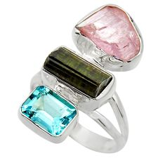 925 silver 14.70cts natural pink kunzite rough blue topaz ring size 7.5 r29719