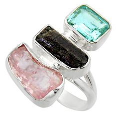 925 silver 14.26cts natural pink kunzite rough blue topaz ring size 6 r29714
