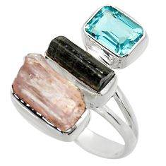925 silver 13.28cts natural pink kunzite rough blue topaz ring size 8 r29704