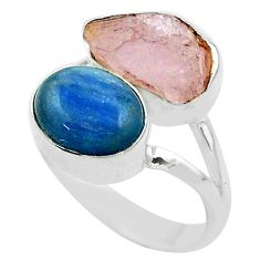 925 silver 10.78cts natural pink kunzite raw fancy kyanite ring size 8 t52286