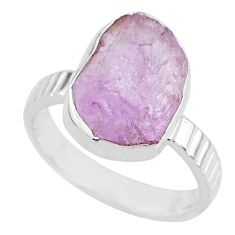 925 silver 6.51cts natural pink kunzite rough fancy solitaire ring size 7 r72034