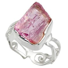 925 silver 8.75cts natural pink kunzite rough solitaire ring size 8 r29649