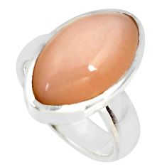925 silver 11.95cts natural pink moonstone solitaire ring jewelry size 7 r34404
